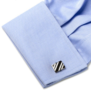 Black and White Rectangle Repp Stripe Cufflinks