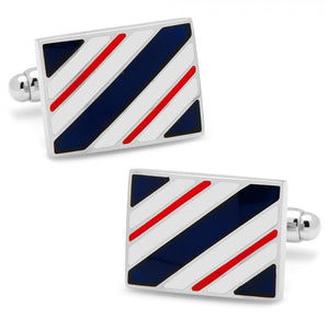 Navy and Red Rectangle Repp Stripe Cufflinks