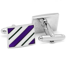 Purple and Green Rectangle Repp Stripe Cufflinks