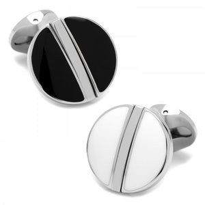 Stainless Steel Reversible Black and White Cufflinks