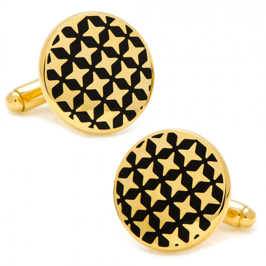 Gold and Black Star Crossed Cufflinks