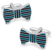 Teal and Plum Bow Tie Cufflinks and Tie Bar Gift Set