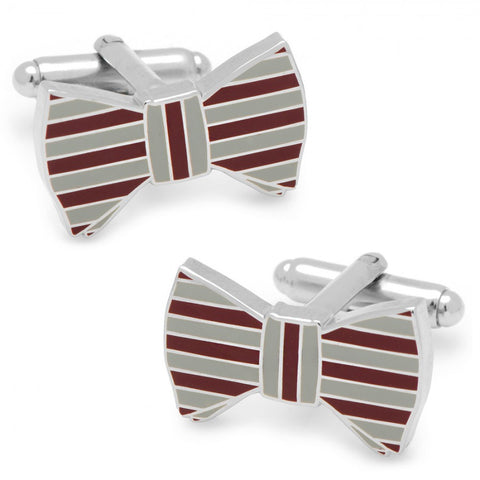 Maroon and Grey Horizontal Striped Bow Tie Cufflinks