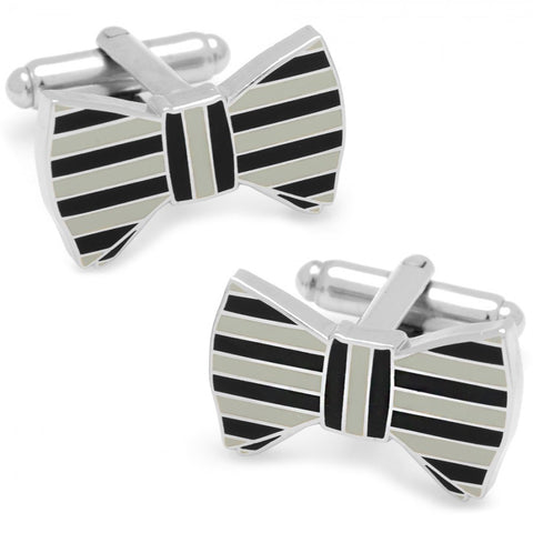 Black and Grey Horizontal Striped Bow Tie Cufflinks