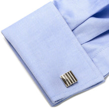 Black and White Striped Square Cufflinks