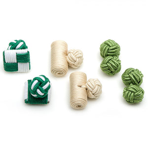 Green Tea Silk Knot Combo Cufflinks