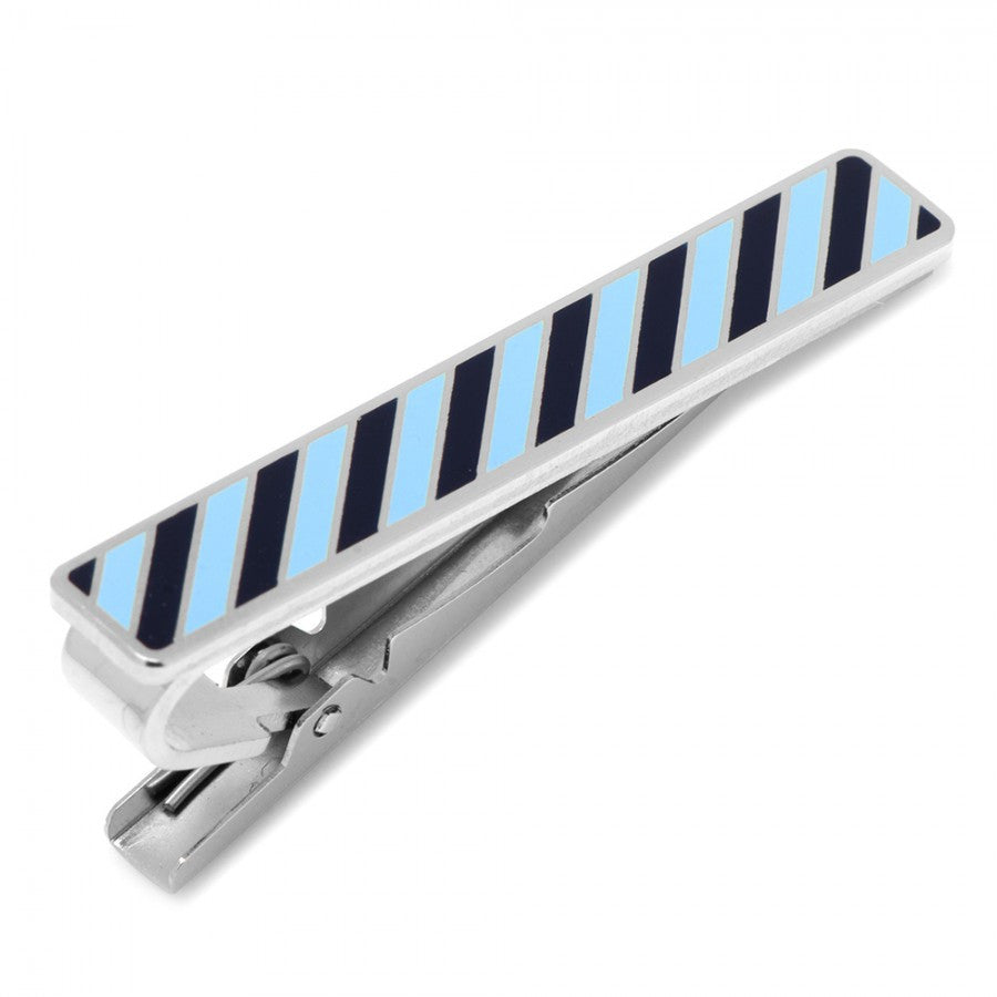 Varsity Stripes Tonal Blue Tie Clip