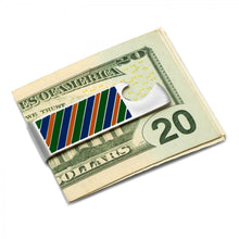 Varsity Stripes Blue, Green, and Orange Money Clip