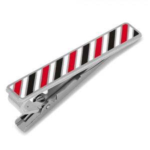 Varsity Stripes Black, Red, and White Tie Clip