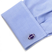 Varisty Football Purple and White Cufflinks