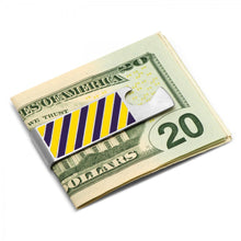 Varsity Stripes Purple and Yellow Bottle Opener Money Clip
