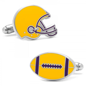 Varsity Football Purple and Yellow Cufflinks
