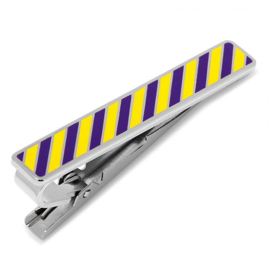 Varsity Stripes Purple and Yellow Tie Clip