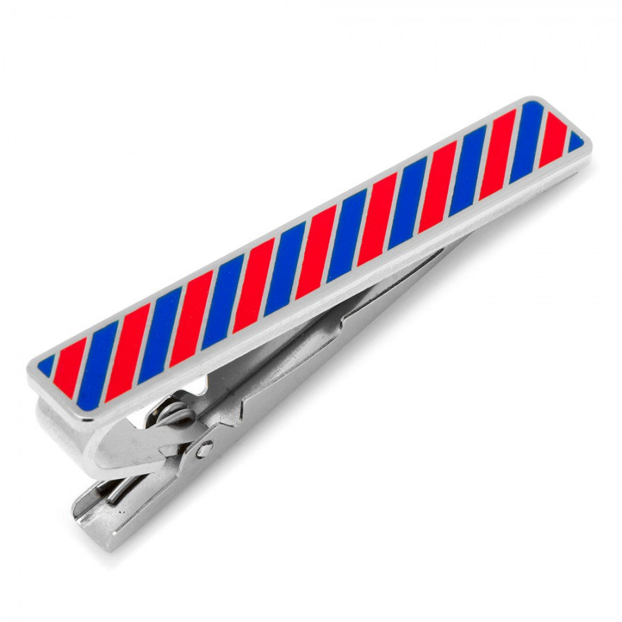 Varsity Stripes Crimson and Blue Tie Clip