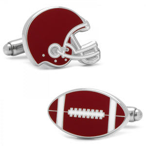 Varsity Football Crimson and White Cufflinks