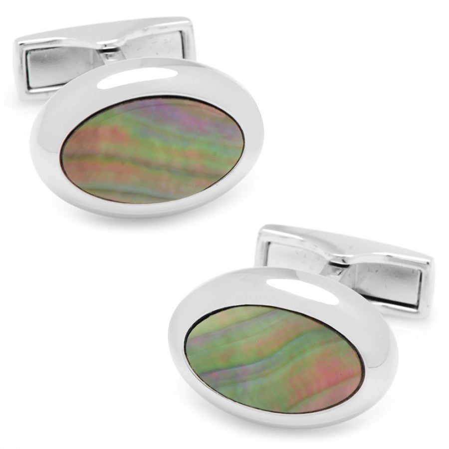 Silver and Black Mother of Pearl Oval Cufflinks