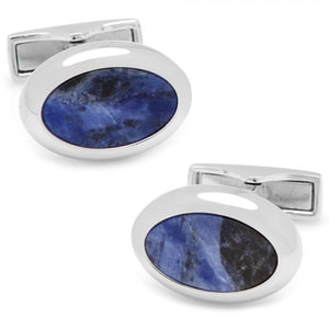 Silver and Sodalite Oval Cufflinks