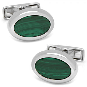 Silver and Malachite Oval Stud Set