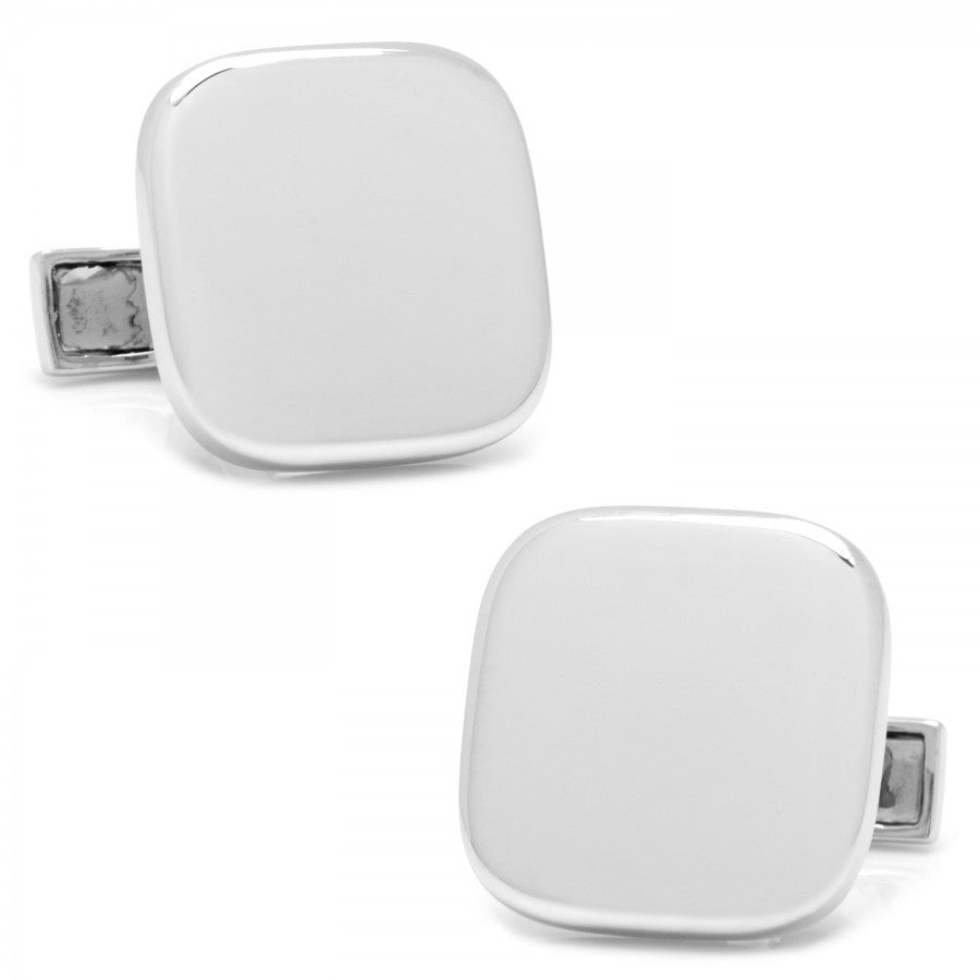Sterling Silver Soft Square Engravable Cufflinks