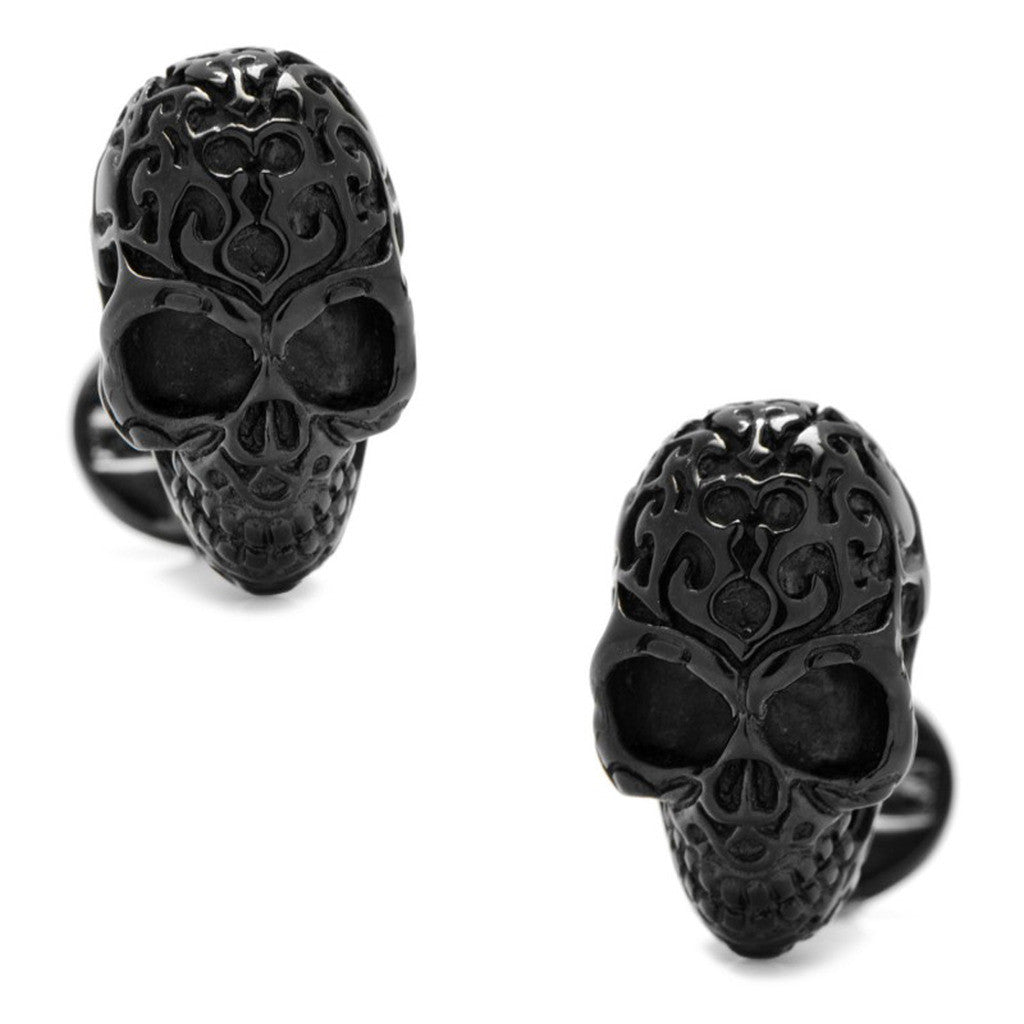 Black Sterling Fatale Skull Cufflinks