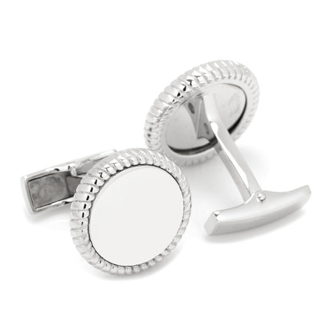 Sterling Silver Rope Border Engravable Round Cufflinks