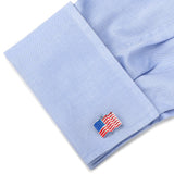 Sterling Silver Waving American Flag Cufflinks