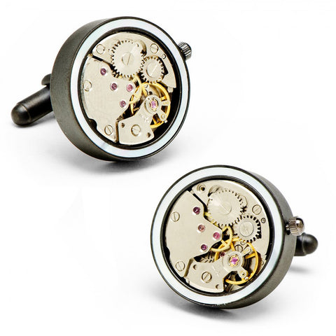 Round 20mm Gunmetal Watch Movement Cufflinks