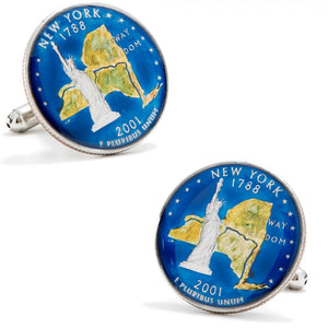 Hand Painted New York State Quarter Cufflinks
