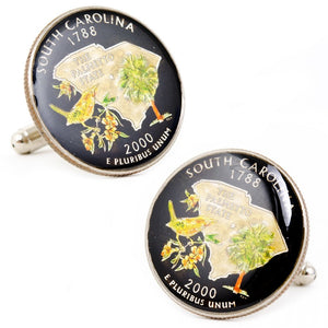 Hand Painted South Carolina State Quarter Cufflinks