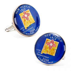Hand Painted New Mexico State Quarter Cufflinks