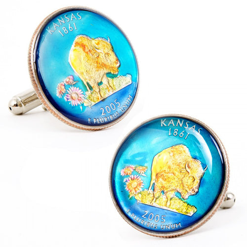 Hand Painted Missouri State Quarter Cufflinks