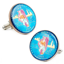 Hand Painted Illinois State Quarter Cufflinks