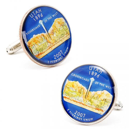 Hand Painted Utah State Quarter Cufflinks