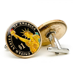 Hand Painted USA Dollar Coin Cufflinks
