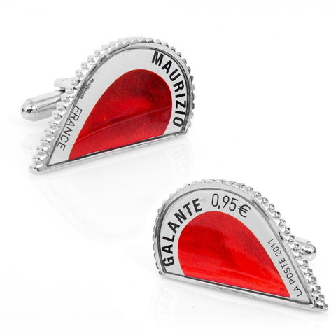 Limited Edition - Red L'Amour Heart Stamp Cufflinks