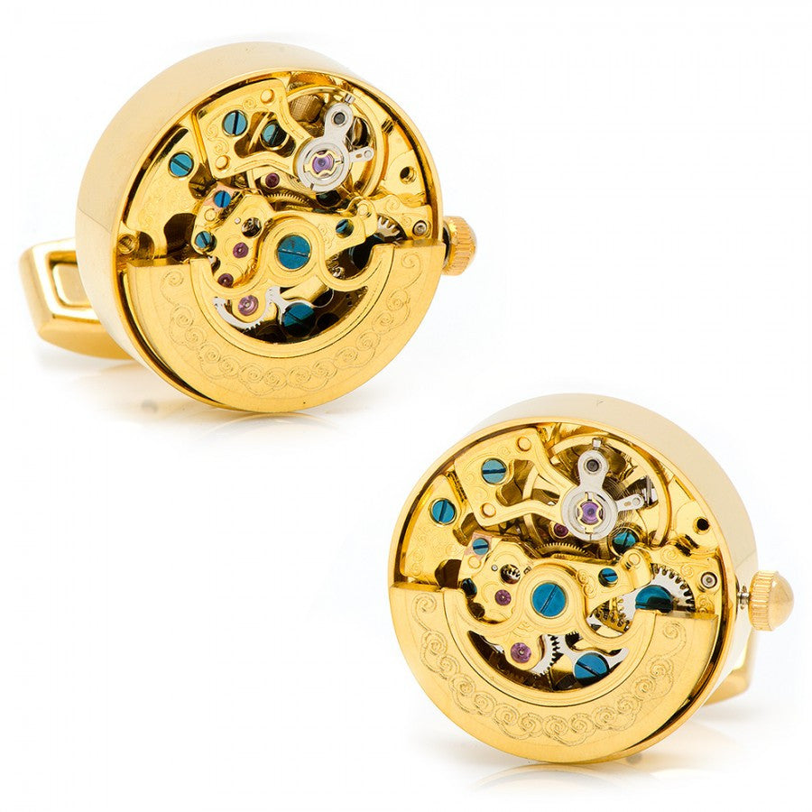 Gold on Gold Kinetic Watch Movement Cufflinks