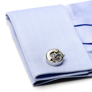 Silver Kinetic Watch Movement Cufflinks