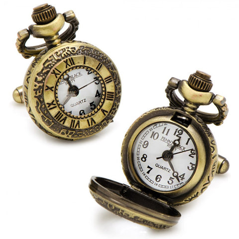 Antique Gold Roman Numerals Pocket Watch Cufflinks