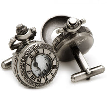 Antique Silver Roman Numerals Pocket Watch Cufflinks