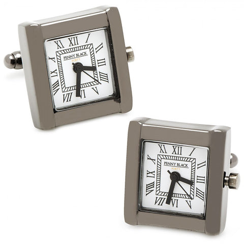 Black Stainless Steel Square Watch Cufflinks