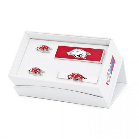 Arkansas Razorbacks Cufflinks and Tie Bar Gift Set