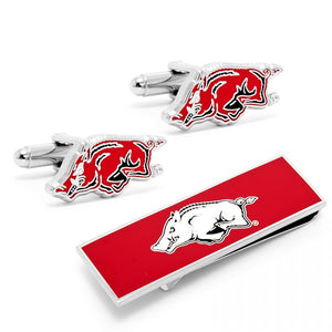 Arkansas Razorbacks Cufflinks and Money Clip Gift Set