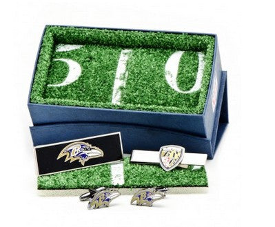 Baltimore Ravens Cufflinks with Shield 3-Piece Gift Set