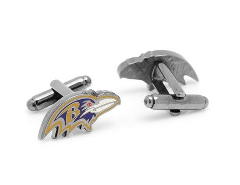 Baltimore Ravens Head Cufflinks and Shield Tie Bar Gift Set
