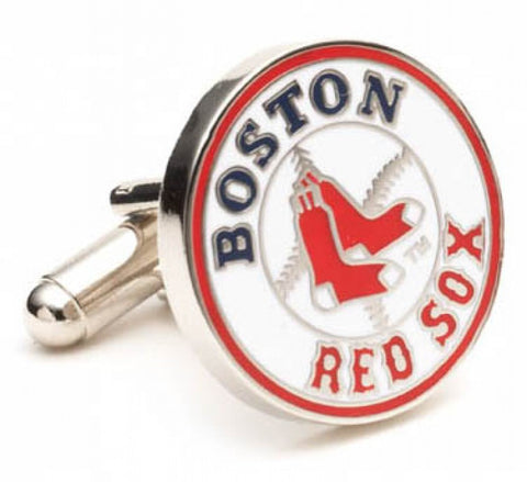 Silver Plated Boston Red Sox Cufflinks
