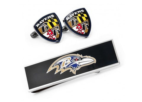Baltimore Ravens Shield Cufflinks and Money Clip Gift Set