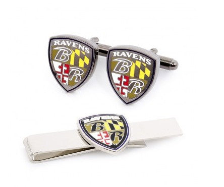 Baltimore Ravens Shield Cufflinks and Tie Bar Gift Set