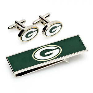 Green Bay Packers Cufflinks and Money Clip Gift Set
