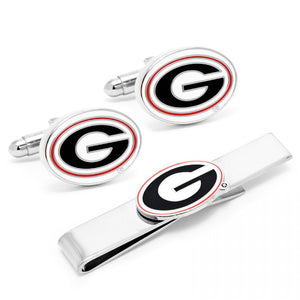 University of Georgia Bulldogs Cufflink and Tie Bar Gift Set