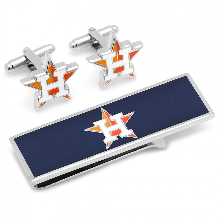 Houston Astros Cufflinks and Money Clip Gift Set